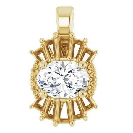 Diamond Pendant in 14 Karat Yellow Gold.33 Carat Diamond Pendant