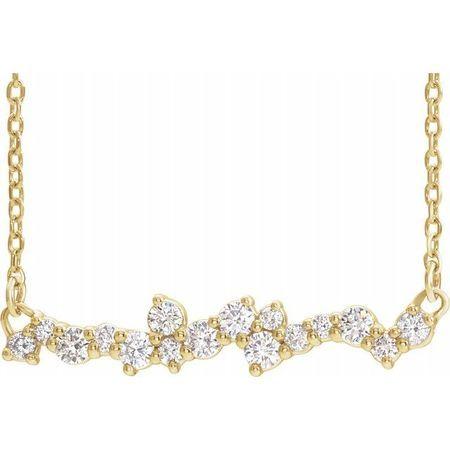 Genuine Diamond Necklace in 14 Karat Yellow Gold 1/3 Carat Diamond Scattered Bar 16