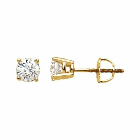 White Diamond Earrings in 14 Karat Yellow Gold 1/3 Carat Diamond Stud Earrings