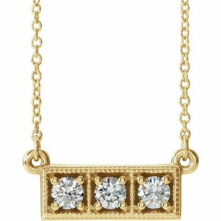 Genuine Diamond Necklace in 14 Karat Yellow Gold 1/3 Carat Diamond Three-Stone Granulated Bar 16-18