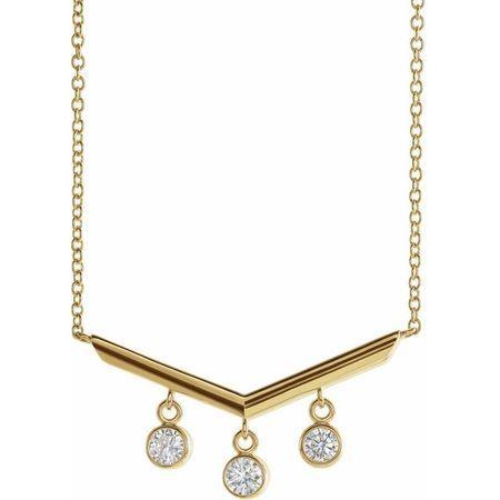 White Diamond Necklace in 14 Karat Yellow Gold 1/3 Carat Diamond V Bar 16