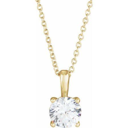 White Diamond Necklace in 14 Karat Yellow Gold 1/4 Carat Diamond 16-18