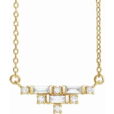 Genuine Diamond Necklace in 14 Karat Yellow Gold 1/4 Carat Diamond Art Deco 16
