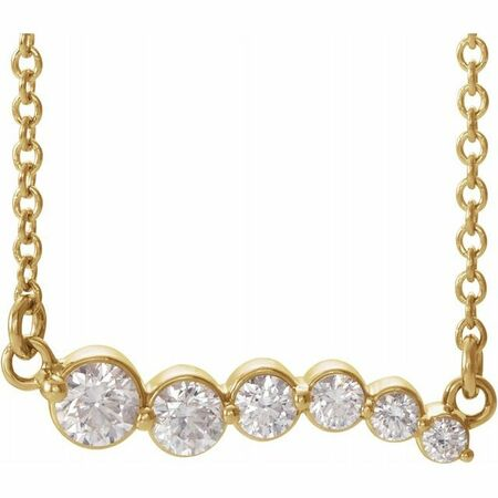 Genuine Diamond Necklace in 14 Karat Yellow Gold 1/4 Carat Diamond Graduated 16