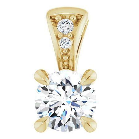 White Diamond Pendant in 14 Karat Yellow Gold 1/4 Carat Diamond Pendant