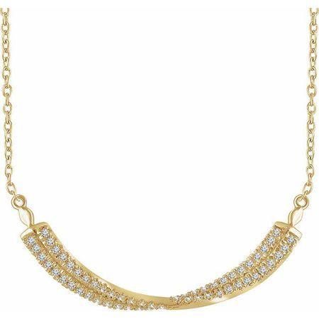 Genuine Diamond Necklace in 14 Karat Yellow Gold 1/4 Carat Diamond isted Bar 16-18