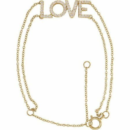 White Diamond Bracelet in 14 Karat Yellow Gold 1/4 Diamond Love 5-7