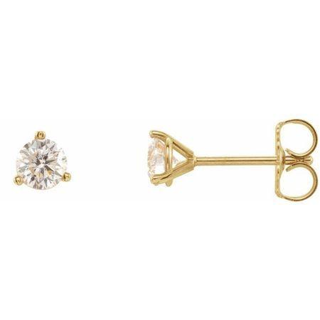 White Diamond Earrings in 14 Karat Yellow Gold 1/5 Carat Diamond 3-Prong Earrings - SI2-SI3 G-H