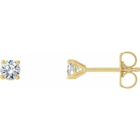 White Diamond Earrings in 14 Karat Yellow Gold 1/5 Carat Diamond 4-Prong CocKaratail-Style Earrings