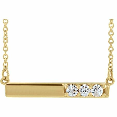 Genuine Diamond Necklace in 14 Karat Yellow Gold 1/5 Carat Diamond Bar 16-18