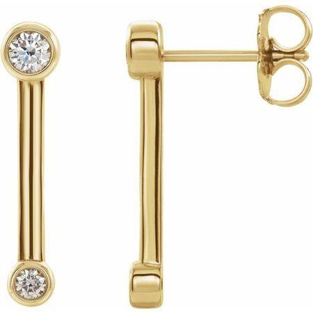 White Diamond Earrings in 14 Karat Yellow Gold 1/5 Carat Diamond Bezel-Set Bar Earrings