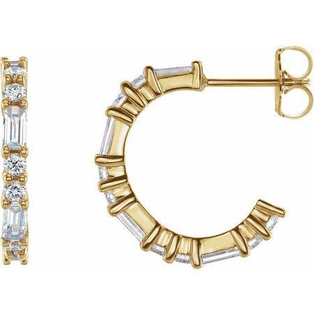 White Diamond Earrings in 14 Karat Yellow Gold 1/5 Carat Diamond Earrings