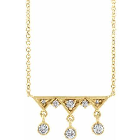 Genuine Diamond Necklace in 14 Karat Yellow Gold 1/5 Carat Diamond Fringe Bar 18