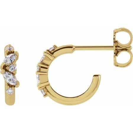 White Diamond Earrings in 14 Karat Yellow Gold 1/5 Carat Diamond Hoop Earrings
