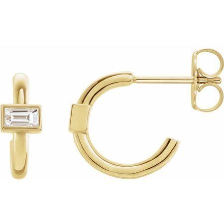 White Diamond Earrings in 14 Karat Yellow Gold 1/5 Carat Diamond J-Hoop Earrings