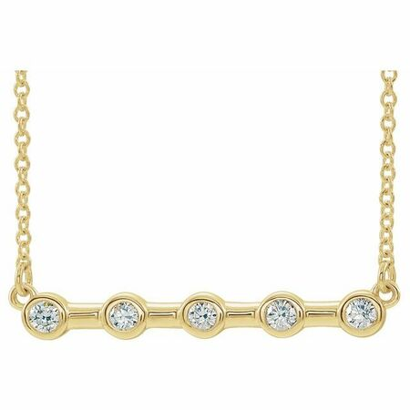 Genuine Diamond Necklace in 14 Karat Yellow Gold 1/6 Carat Diamond Bezel-Set Bar 16