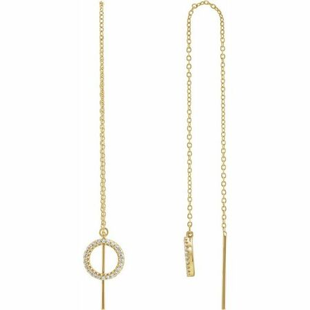 White Diamond Earrings in 14 Karat Yellow Gold 1/6 Carat Diamond Geometric ChaEarrings