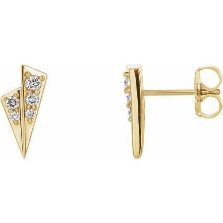 White Diamond Earrings in 14 Karat Yellow Gold 1/6 Carat Diamond Geometric Earrings