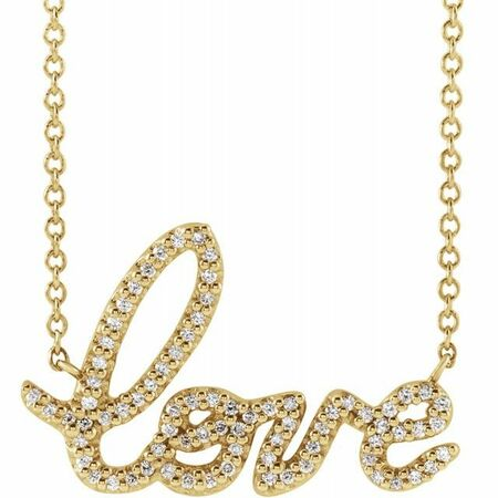 White Diamond Necklace in 14 Karat Yellow Gold 1/6 Carat Diamond Love 18