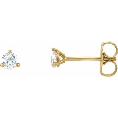White Diamond Earrings in 14 Karat Yellow Gold 1/8 Carat Diamond 3-Prong Earrings - SI2-SI3 G-H