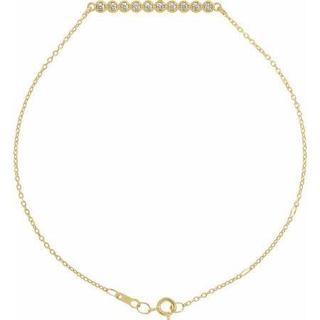 White Diamond Bracelet in 14 Karat Yellow Gold 1/8 Carat Diamond Bar 6 1/2-7 1/2