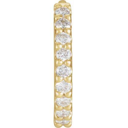 White Diamond Earrings in 14 Karat Yellow Gold 1/8 Carat Diamond Hinged 10.32 mm Hoop Single Earring