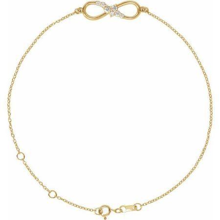 White Diamond Bracelet in 14 Karat Yellow Gold 1/8 Carat Diamond Infinity 6 1/2-7 1/2