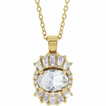 White Diamond Necklace in 14 Karat Yellow Gold 1 Carat Diamond 16-18