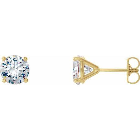 White Diamond Earrings in 14 Karat Yellow Gold 1 Carat Diamond 4-Prong CocKaratail-Style Earrings