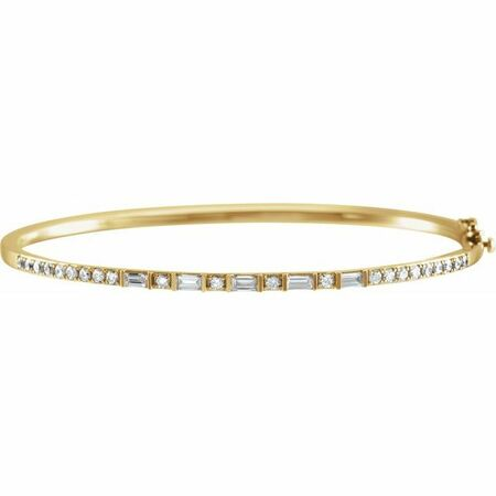 White Diamond Bracelet in 14 Karat Yellow Gold 1 Carat Diamond 7