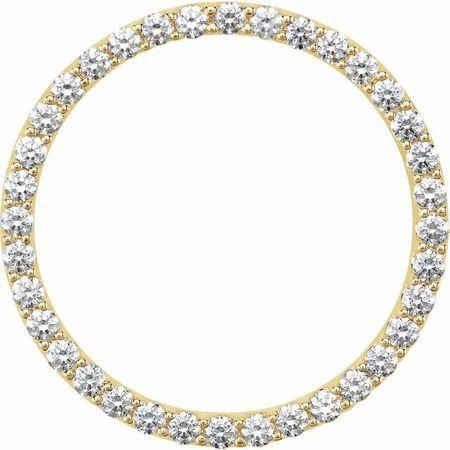 Diamond Pendant in 14 Karat Yellow Gold 1 Carat Diamond Circle Pendant SI2-SI3, G-H