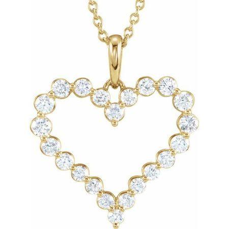 White Diamond Necklace in 14 Karat Yellow Gold 1 Carat Diamond Heart 18