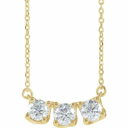 White Diamond Necklace in 14 Karat Yellow Gold 1 Carat Diamond Three-Stone Curved Bar 16