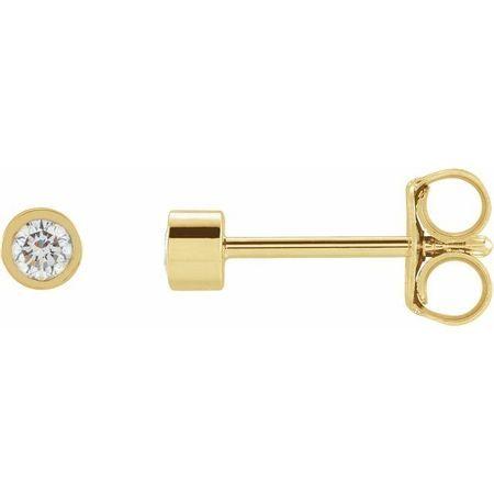 White Diamond Earrings in 14 Karat Yellow Gold .10 Carat Diamond Micro Bezel-Set Earrings