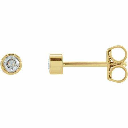 White Diamond Earrings in 14 Karat Yellow Gold .125 Carat Diamond Micro Bezel-Set Earrings