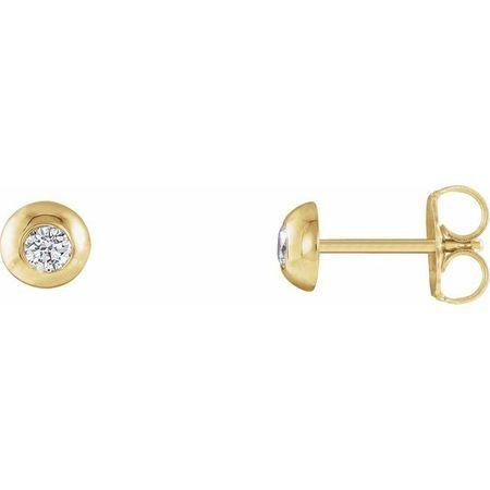 Created Moissanite Earrings in 14 Karat Yellow Gold 2.5 mm Round Forever One Moissanite Domed Earrings