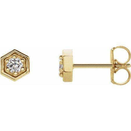 Created Moissanite Earrings in 14 Karat Yellow Gold 2.5 mm Round Forever One Moissanite Earrings