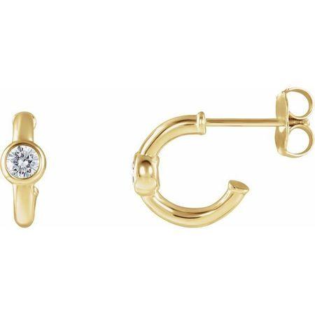 Created Moissanite Earrings in 14 Karat Yellow Gold 2.5 mm Round Forever One Moissanite Hoop Earrings