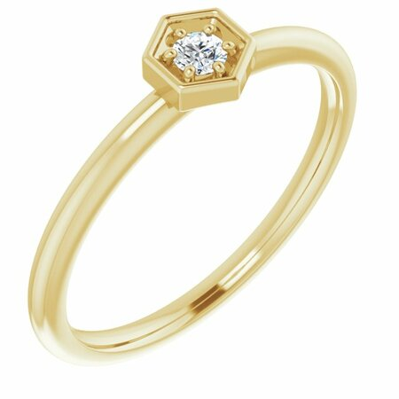 Created Moissanite Ring in 14 Karat Yellow Gold 2.5 mm Round Forever One Moissanite Ring
