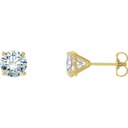 White Diamond Earrings in 14 Karat Yellow Gold 2 Carat Diamond 4-Prong CocKaratail-Style Earrings