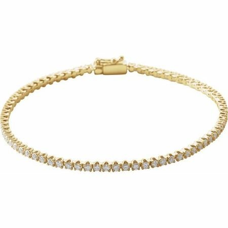 White Diamond Bracelet in 14 Karat Yellow Gold 2 Carat Diamond Line 7
