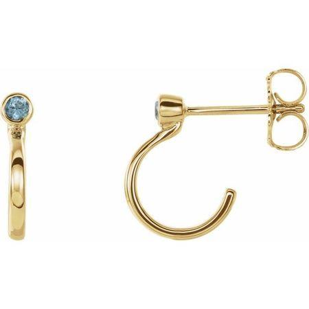 Genuine Zircon Earrings in 14 Karat Yellow Gold 2 mm Round Genuine Zircon Bezel-Set Hoop Earrings