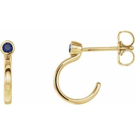 Created Sapphire Earrings in 14 Karat Yellow Gold 2 mm Round Chatham Lab-Created Genuine Sapphire Bezel-Set Hoop Earrings