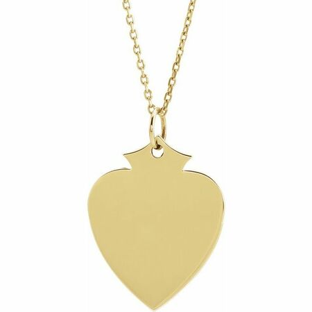 Diamond Necklace in 14 Karat Yellow Gold 21.5x16.5 mm Shield 16-18
