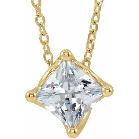 White Diamond Necklace in 14 Karat Yellow Gold 3/4 Carat Diamond Solitaire 16-18