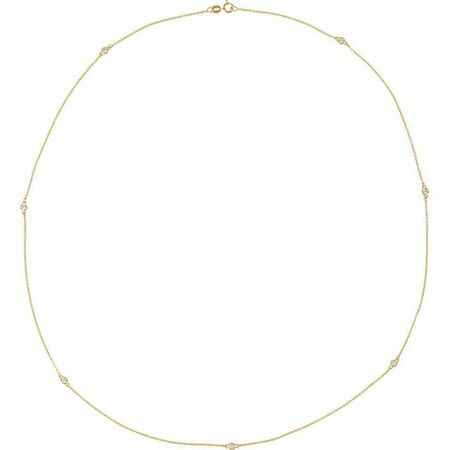White Diamond Necklace in 14 Karat Yellow Gold 3/4 Carat Diamond 7-Station 24