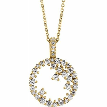 White Diamond Necklace in 14 Karat Yellow Gold 3/4 Carat Diamond Scattered Circle 16-18
