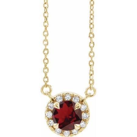 Red Garnet Necklace in 14 Karat Yellow Gold 3.5 mm Round Mozambique Garnet & .04 Carat Diamond 16