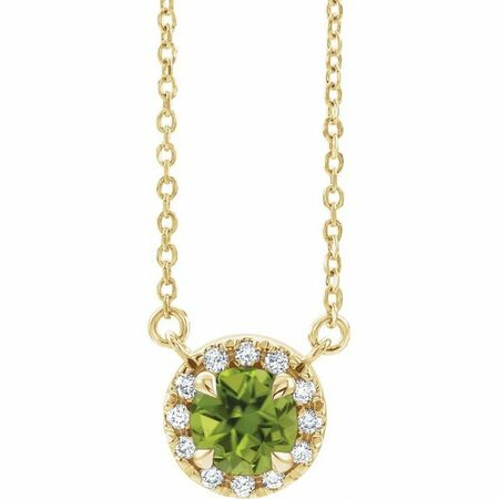 Genuine Peridot Necklace in 14 Karat Yellow Gold 3.5 mm Round Peridot & .04 Carat Diamond 16