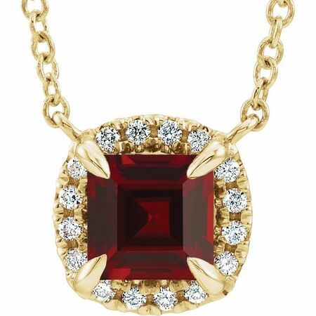 Red Garnet Necklace in 14 Karat Yellow Gold 3.5x3.5 mm Square Mozambique Garnet & .05 Carat Diamond 16
